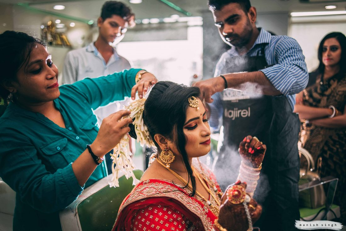 bride getting ready Candid wedding photographyBhubaneswar