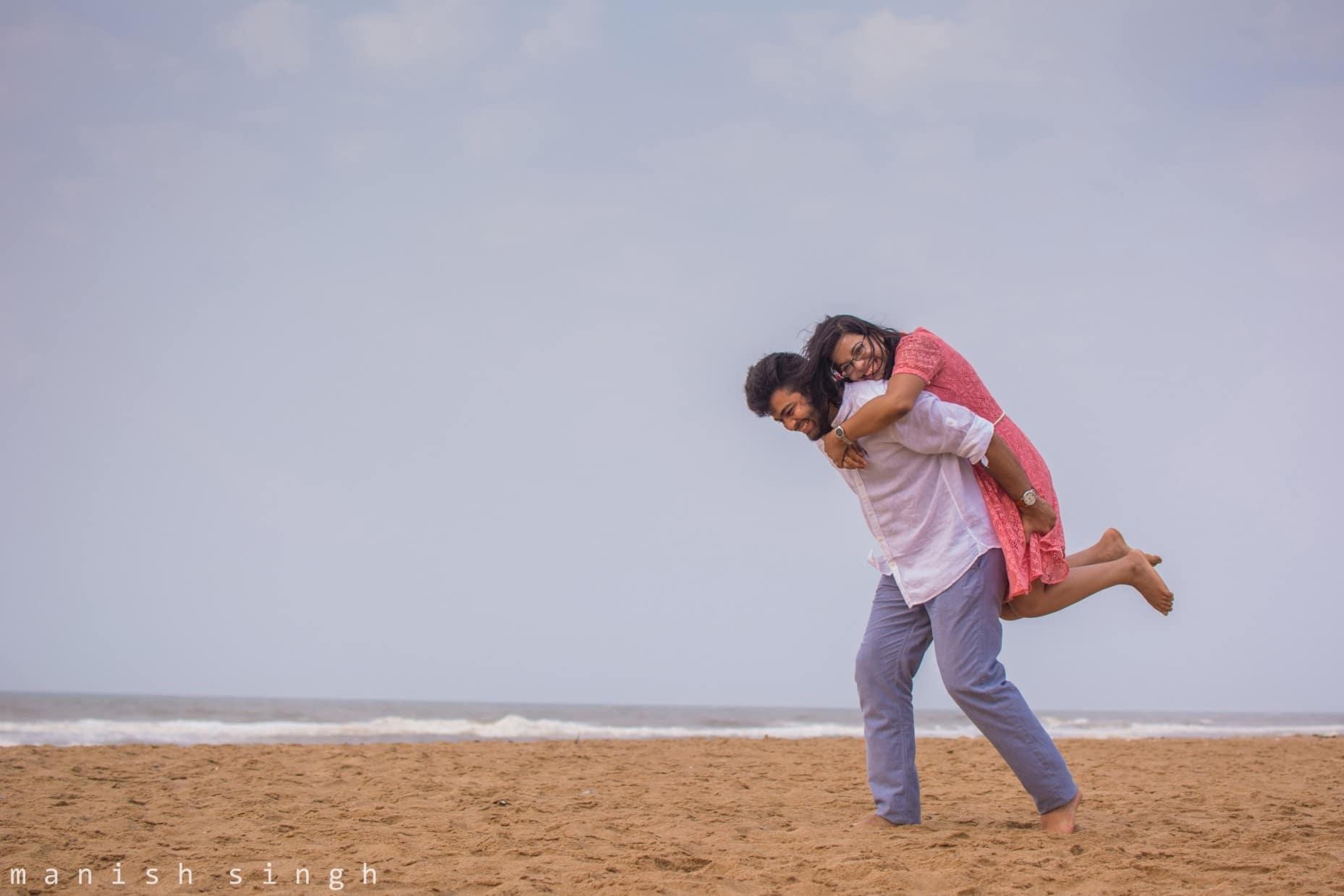 Manish Singh Photography Pre-wedding couple playful