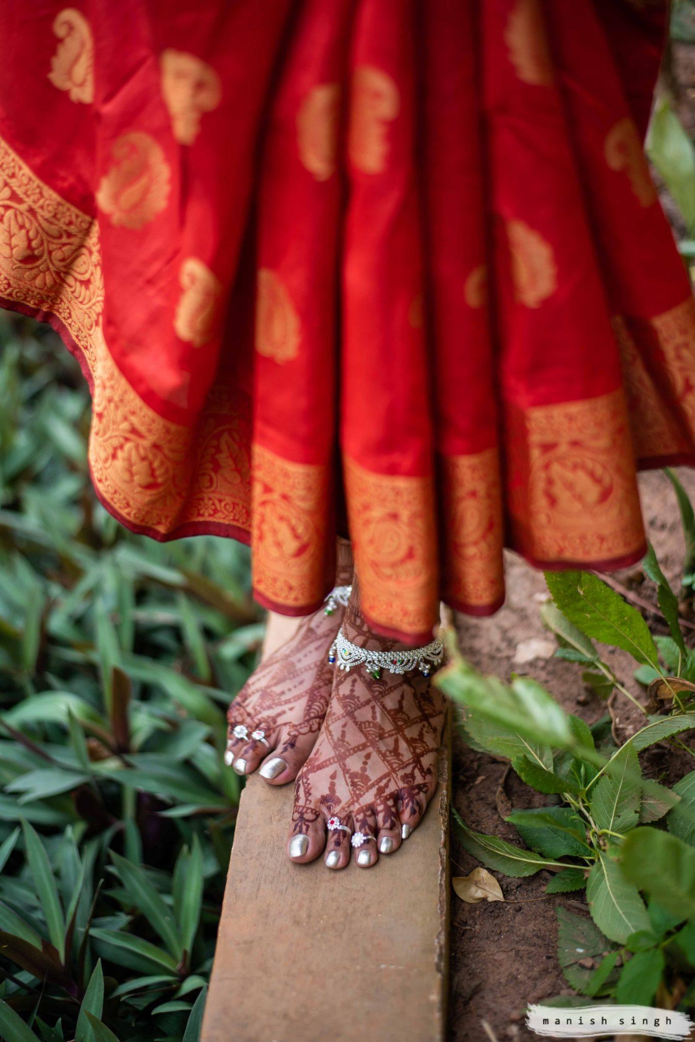 Bride feet with mehendi Photoshoot