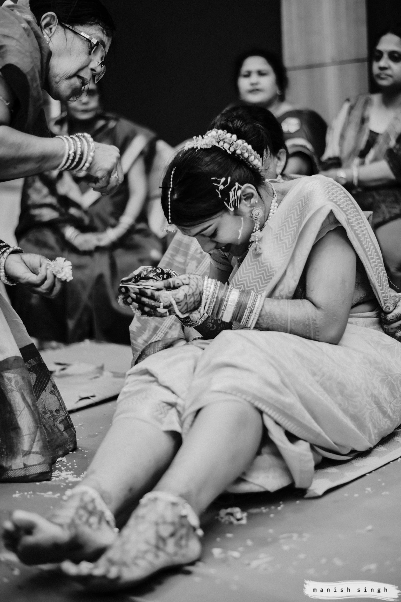 Odisha wedding Haldi Ritual black and white