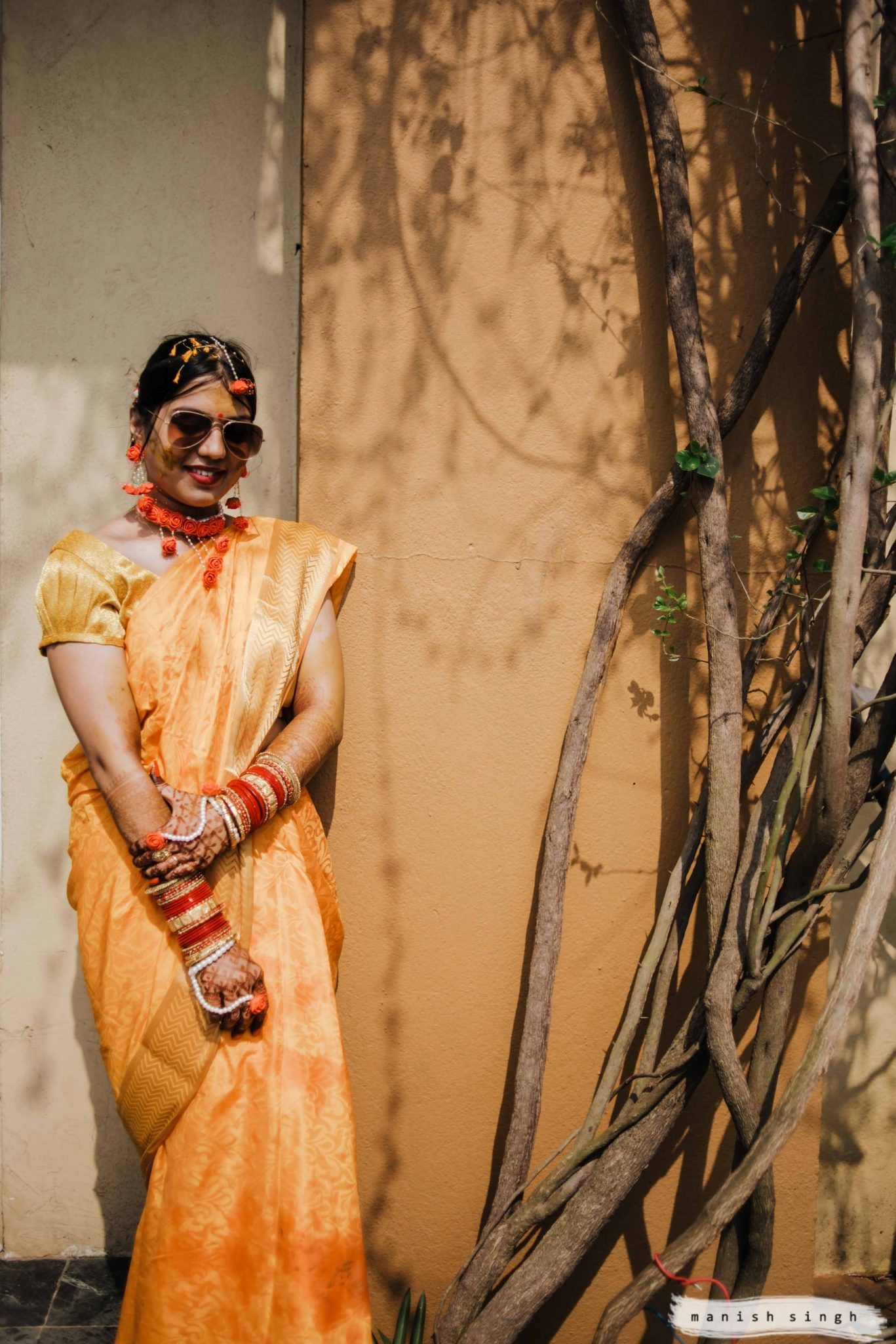 Bride portrait with shades hotel la franklin Bhubaneswar