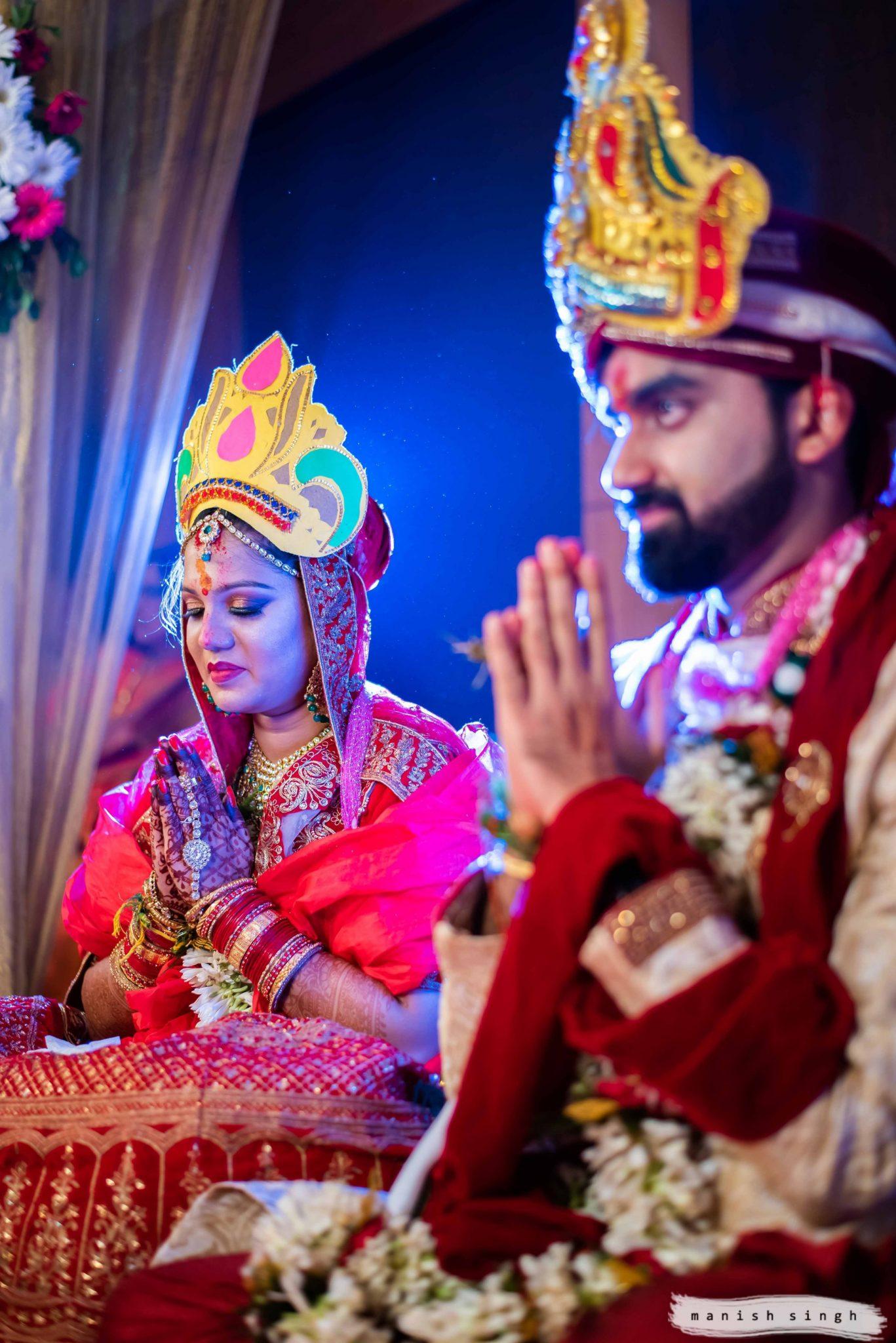 Puja in sindoor daan in Bhubaneswar wedding at lafranklin hotel