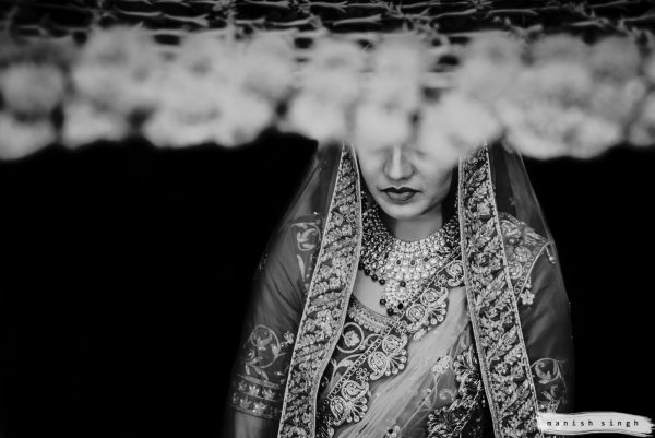 Bridal portrait in Phoolon ki Chadar black and white