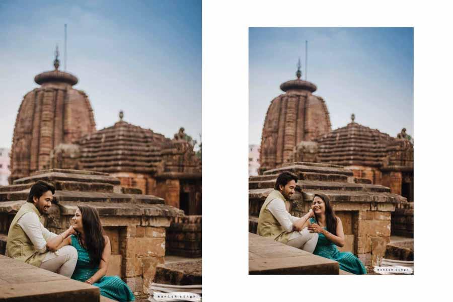 Couple laughing in front of Mukteswar temple Bhubaneswar